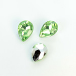 Plastic Point Back Foiled Stone - Pear 14x10MM PERIDOT