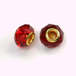 Glass Faceted Bead with Large Hole Gold Plated Center - Round 14x9MM SIAM RUBY