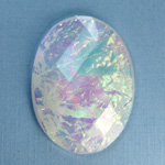 Plastic Flat Back Faceted Cabochons - Rauten Rose - Stone - Oval 40x30MM OPAL WHITE