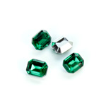 Plastic Point Back Foiled Stone - Cushion Octagon 10x8MM EMERALD