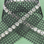Rhinestone Banding with MC Chaton 1 Row with Net Two Edge - Round 19SS CRYSTAL-BLACK-SILVER