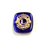 Glass Flat Back Intaglio Lions Club Cushion Antique 16x14MM GOLD ON SAPPHIRE Foiled