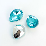 Plastic Point Back Foiled Stone - Pear 18x13MM AQUA