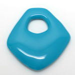 Plastic Pendant - Opaque Color Smooth Fancy 55x53MM TURQUOISE