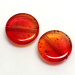 Plastic Bead - Two Tone Speckle Color Smooth Flat Round 22MM ORANGE YELLOW