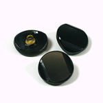 Glass Button - Cut & Polished with 2 bevels and Metal Shank Round 18MM JET