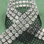 Rhinestone Banding with MC Chaton 3 Row with Net One Edge - Round 19SS CRYSTAL-BLACK-SILVER