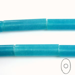 Gemstone Bead - Oval Cylinder 30x8MM Dyed QUARTZ Col. 30 AQUA
