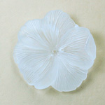 German Plastic Flower with Center Hole - Round 33MM MATTE CRYSTAL