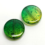 Plastic Bead - Two Tone Speckle Color Smooth Flat Round 22MM GREEN YELLOW
