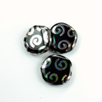 Czech Pressed Glass Bead - Smooth Flat Coin 19MM PEACOCK JET