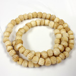 Genuine Bead Bone Carved Round 06x4MM ANTIQUE NATURAL