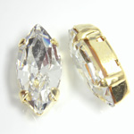 Crystal Stone in Metal Sew-On Setting - Navette 15x7MM CRYSTAL-GOLD
