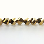 Indian Cut Crystal Bead - Helix Twisted 08MM METALLIC GOLD