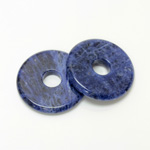 Gemstone Bead - Donut Round Smooth 40MM BLUE SODALITE