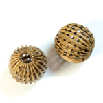 Brass Corrugated Bead - Fancy Pierced Round 14MM RAW
