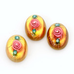 Glass Medium Dome Lampwork Cabochon - Oval 18x13MM PINK ON TOPAZ (00585)