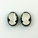 Czech Glass Flat Back Cameo Anakreon - Oval 18x13MM MATTE CRYSTAL ON JET