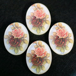 German Plastic Porcelain Decal Painting - 2 Roses (2094) Oval 40x30MM MATTE CRYSTAL