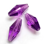 Plastic Bead -  Faceted Elongated Bicone 25x12MM AMETHYST