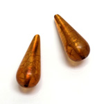 Plastic Bead - Bronze Lined Veggie Color Smooth Pear 29x12MM MATTE BROWN
