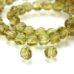 Chinese Cut Crystal Bead - Round Disc Side Drilled 04MM OLIVENE