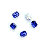 Plastic Point Back Foiled Stone - Cushion Octagon 08x6MM SAPPHIRE