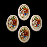 German Plastic Porcelain Decal Painting - Flower - Bouquet (2036) Oval 25x18MM IVORY