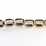 Glass Fire Polished Table Cut Window Bead - Cushion Antique 12x8MM CRYSTAL with METALLIC COATING