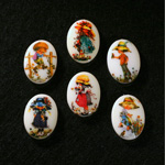 German Plastic Porcelain Decal Painting - Children Oval 18x13MM ON CHALKWHITE BASE