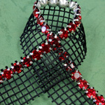 Rhinestone Banding with MC Chaton 1 Row with Net One Edge - Round 19SS LT SIAM RUBY-BLACK-SILVER