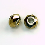 Glass Faceted Bead with Large Hole Silver Plated Center - Round 14x9MM COAT GOLD