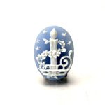 Plastic Cameo - Christmas Candle Oval 25x18MM WHITE ON BLUE