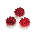 Glass Flat Back Foiled Mirror - Daisy 10MM RUBY