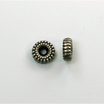 Metalized Plastic Bead - Ribbed Round Spacer 08MM ANT SILVER