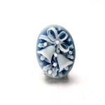 Plastic Cameo - Christmas Bells  Oval 25x18MM WHITE ON ROYAL BLUE