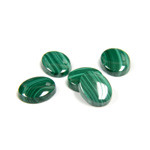 Gemstone Flat Back Single Bevel Buff Top Stone - Oval 10x8MM MALACHITE