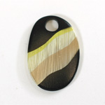 Plastic Pendant - Mixed Color Smooth Pear 39x26MM PETRIFIED WOOD COLOR