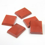 Gemstone Flat Back Single Bevel Buff Top Stone - Cushion 12x10MM RED JASPER