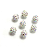 Rhinestone Bead Pave with 1.0MM Hole Metal Base Round 06MM CRYSTAL AB