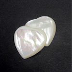 Shell Flat Back Cabochon - Heart 25MM WHITE MOP