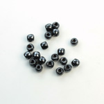 Czech Pressed Glass Large Hole Bead - Round 04MM HEMATITE