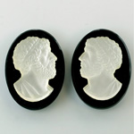 Czech Glass Flat Back Cameo Anakreon - Oval 30x22MM MATTE CRYSTAL ON JET