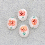 Glass Medium Dome Lampwork Cabochon - Oval 14x10MM PINK ON WHITE (04863)