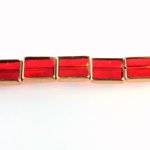 Glass Fire Polished Table Cut Window Bead - Cushion 12x10MM RUBY with METALLIC COATING