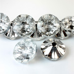 Chinese Cut Crystal Bead Button - Foiled Round 20MM CRYSTAL