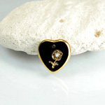 Glass Engraved Intaglio Flower Pendant with Chaton Insert - Heart 12x11MM JET with GOLD