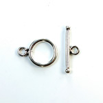 Toggle Clasp Lead Safe Round 12MM SILVER PLATED