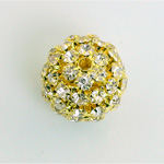 Rhinestone Ball 18MM CRYSTAL-GOLD