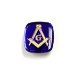 Glass Flat Back Intaglio Masonic - Cushion Antique 16x14MM GOLD ON SAPPHIRE Foiled